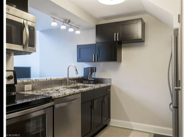 Stainless Steel appliances, granite countertops, bar ledge into great-room.