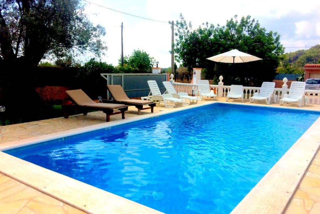 Pool with loungers