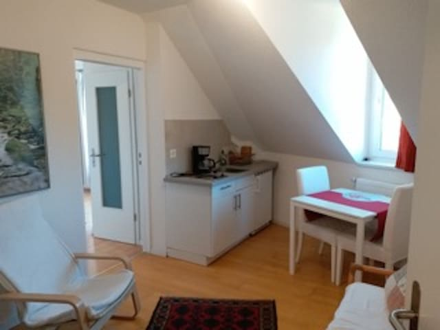 "Nice double room ""Kletterrose"" with kitchenette, Shared Balcony & Wi-Fi; Parking Available for an Additional Fee, Pets Allowed"