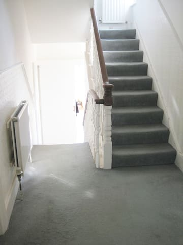 Stairs down to kitchen, with toilet room on the left.