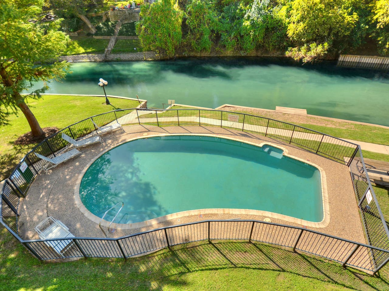 Inverness is the place to be! Direct access into the Comal River and gorgeous views from the pool!