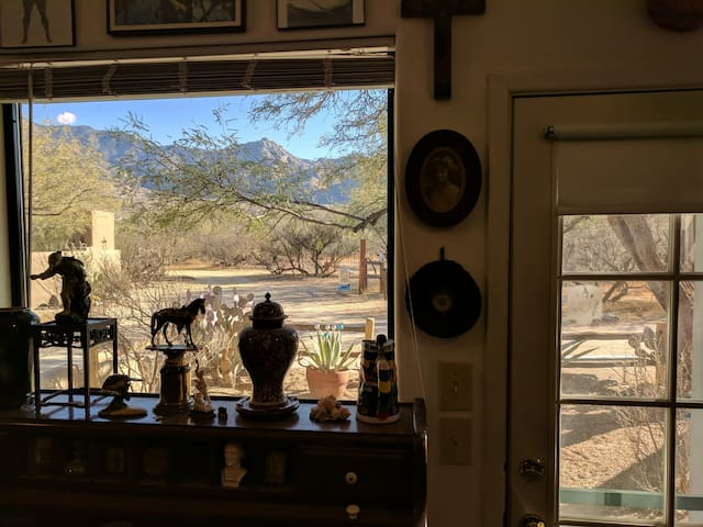 View out bedroom front window towards Catalina Mountains.