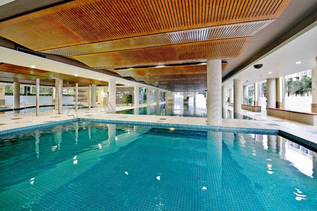 Pool, gym and spa in complex.
