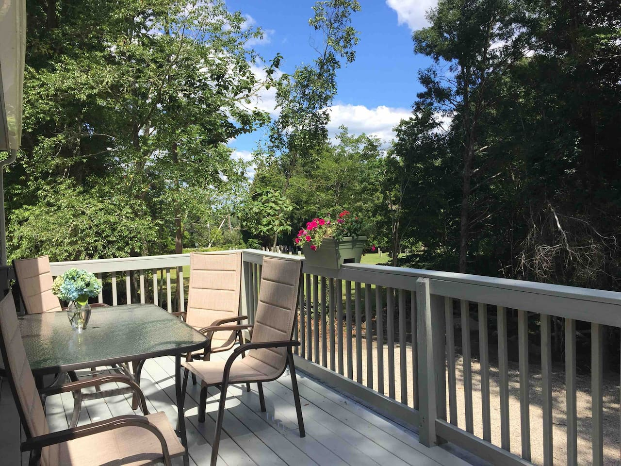 Very private deck overlooking the woods and an historic cemetery