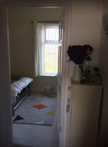 Bedroom from hallway.