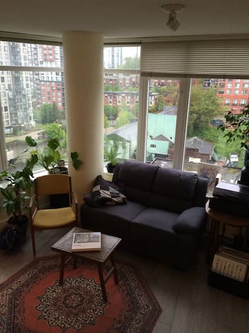 Comfortable living room to enjoy a book, music, city views with partial river view of the mighty Fraser.