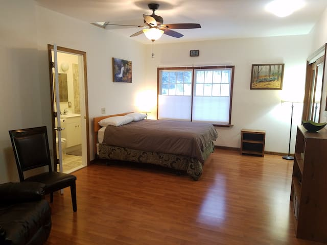 Upstairs bedroom with view Convenient private bath