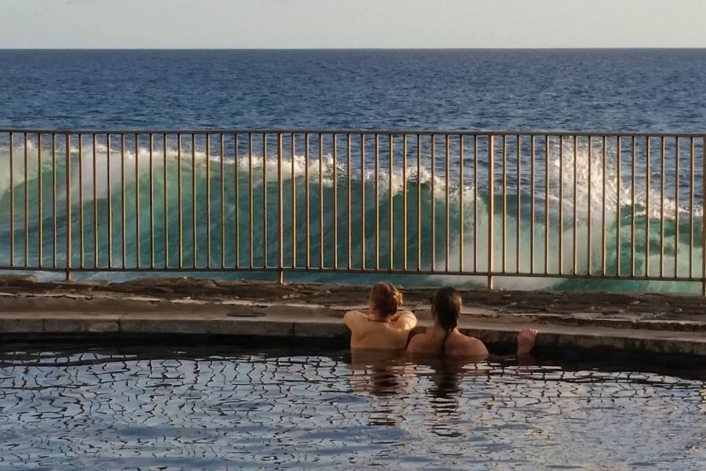 On big surf days it's really fun to swim in the oceanfront pool