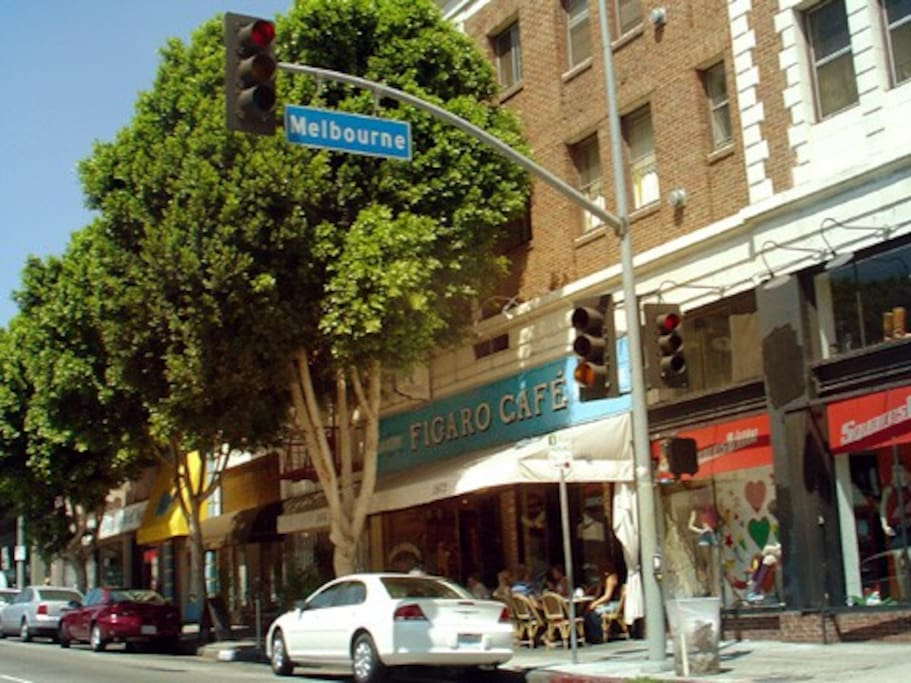 Downstairs: French café, vintage clothing store, and Skylight Books.