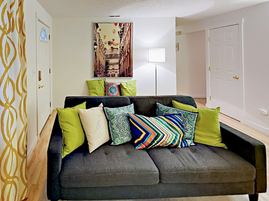 Curl up on the contemporary sofa in the living room.