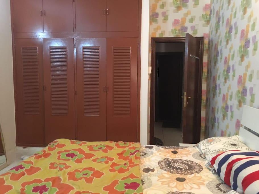 One bedroom, queen bed, built in wardrobe, balcony, separate toilet