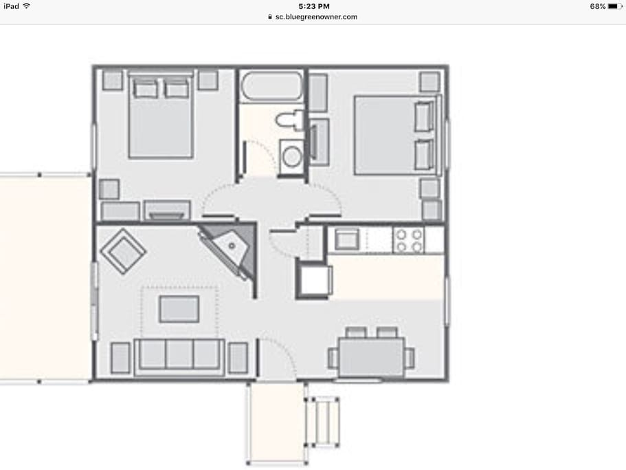 This is the floor plan for the 2 bedroom cottage.