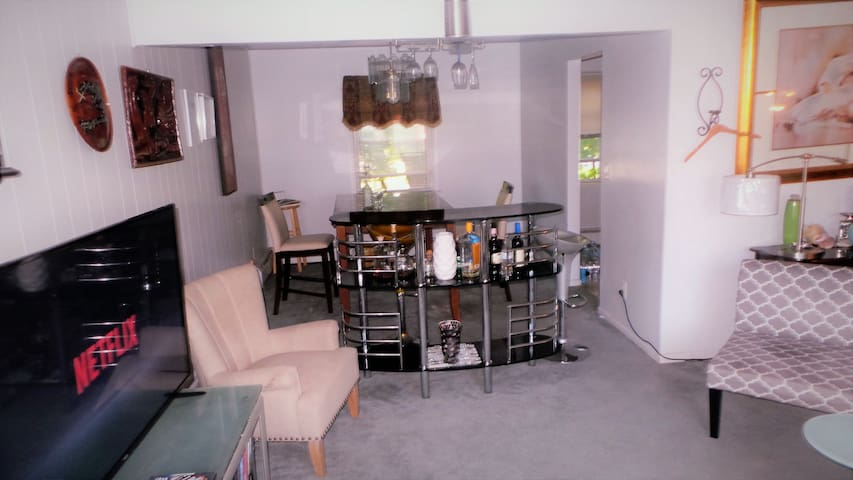 Living room with smart TV. Netflix, Hulu, CNN, and major networks available.