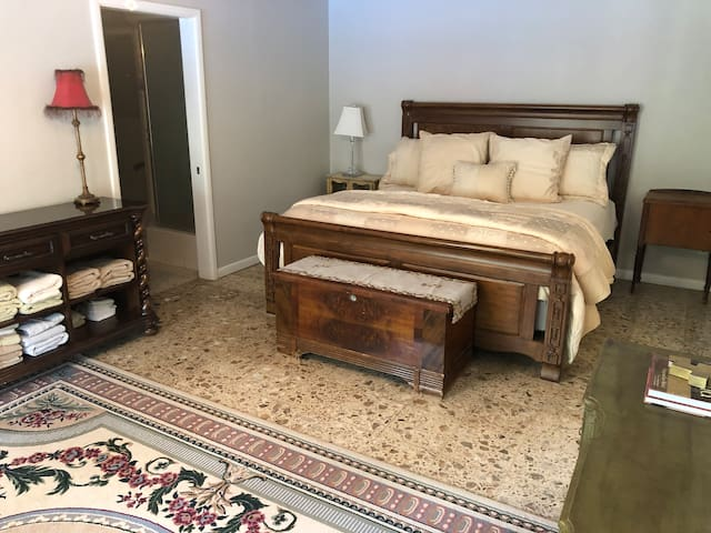 Large Master Bedroom with King Bed, spacious walk in closet and adjoining master bath