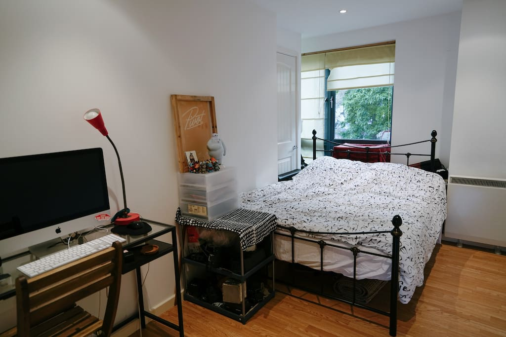 bright private room with double bed