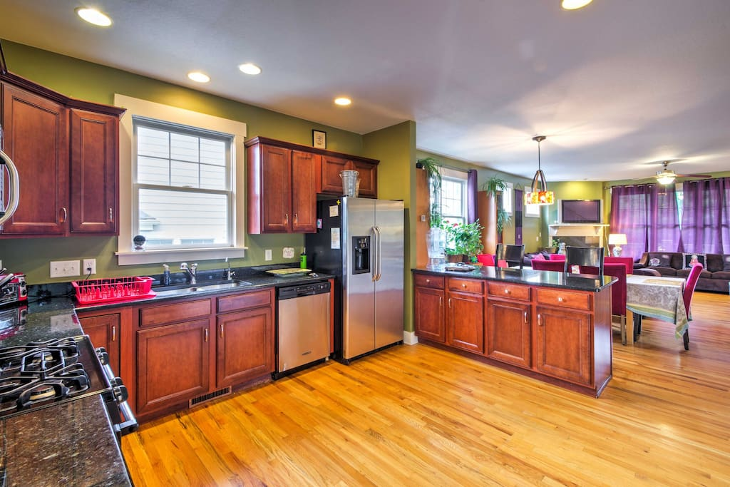 You'll love whipping up home-cooked meals in the fully equipped kitchen.