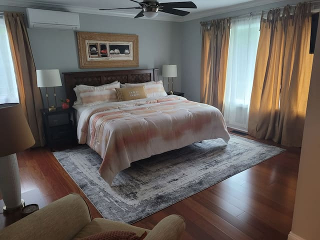 Master suite second floor. King size bed . Private bathroom with shower and hot tub