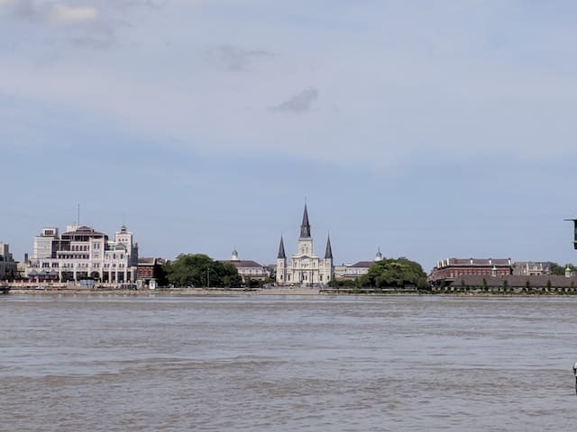 Walk across the street of your private condo and this is your view of the French Quarter. Algiers Point boasts the best views in the city!