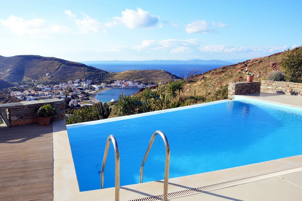 The pool and view of Korissia