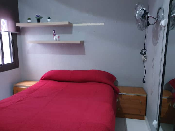 interior room with double bed large closet mirror