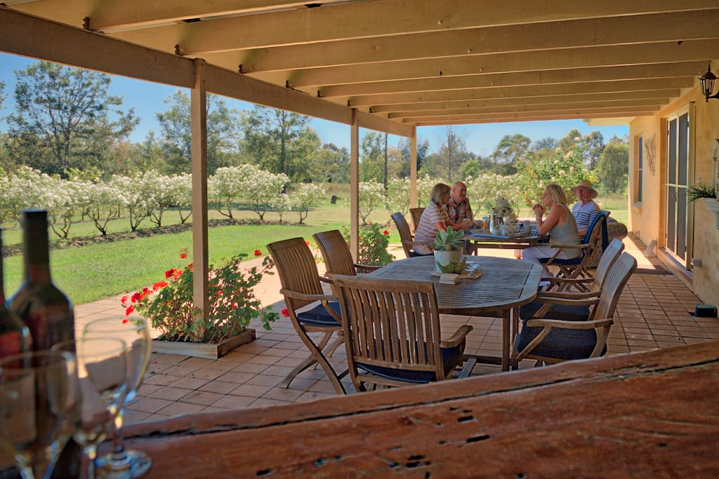 Large undercover entertaining area overlooking our vineyard