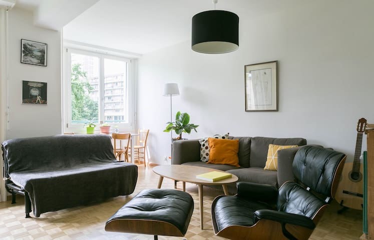 Cozy bright apt with balcony overlooking a parc. - Genève - Appartement