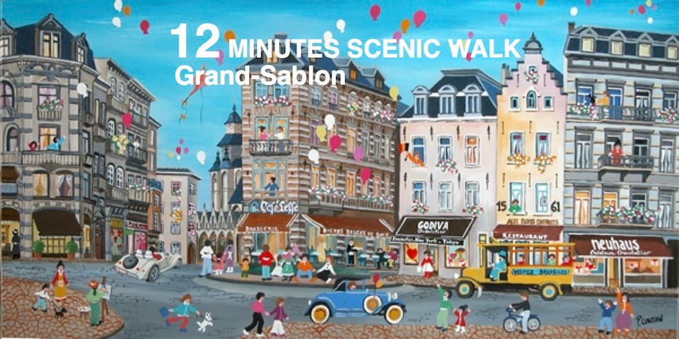 Le Grand Sablon with all the antique shops and high class cafés, 15min walk from the flat