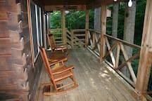 Rocking chair porch overlooking creek