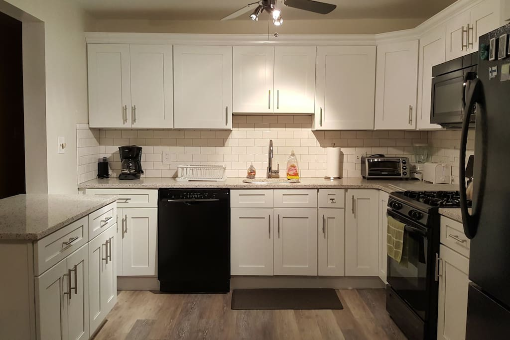 Ample counter space in updated kitchen