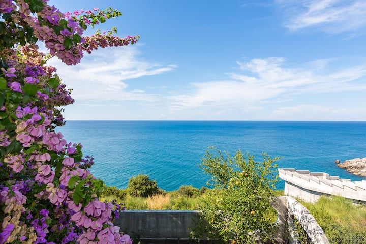 Seafront panoramic view villa, 2 minutes to beach