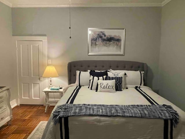 The second bedroom has a brand new king mattress, for your comfort and peaceful sleep.  The drapes are room darkening.  Dresser for your clothes.  It also has a closet and hangers.  Lots of pillows for those of us who have to have lots of pillows.
