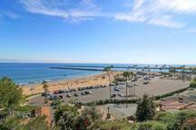 Newport beach and parking lot
