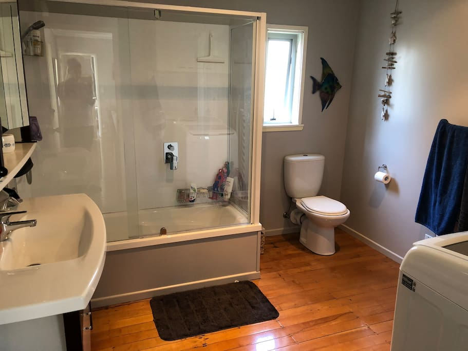 bathroom/laundry. Shared with another AirBnB stayer and our 2 children when they here every second weekend.