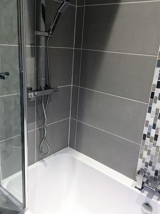 Luxury bathroom with large shower over bath.