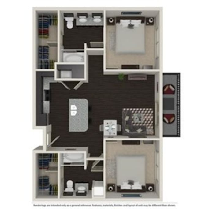 Bedroom/Baths on opposite sides of apartment for privacy
