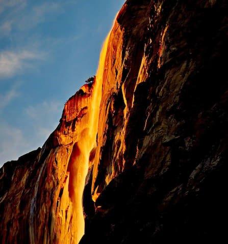 The sun hitting Horsetail Falls, Yosemite