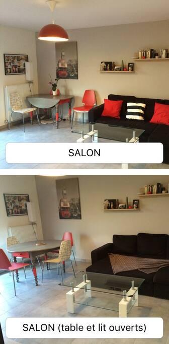 Salon avec canapé ouvert en lit et table à manger dépliée pouvant accueillir 6-7 personnes