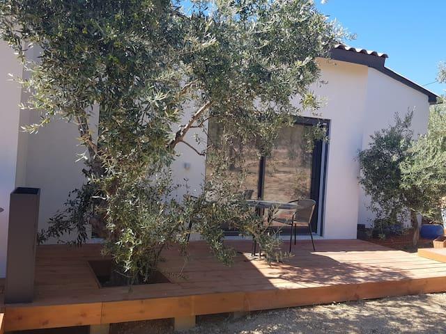 Grande chambre indépendante entourée d'oliviers
