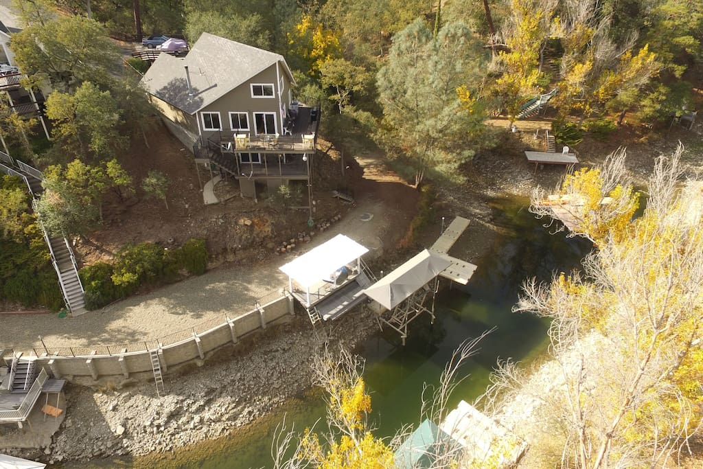 Birds eye view of the house- including dock