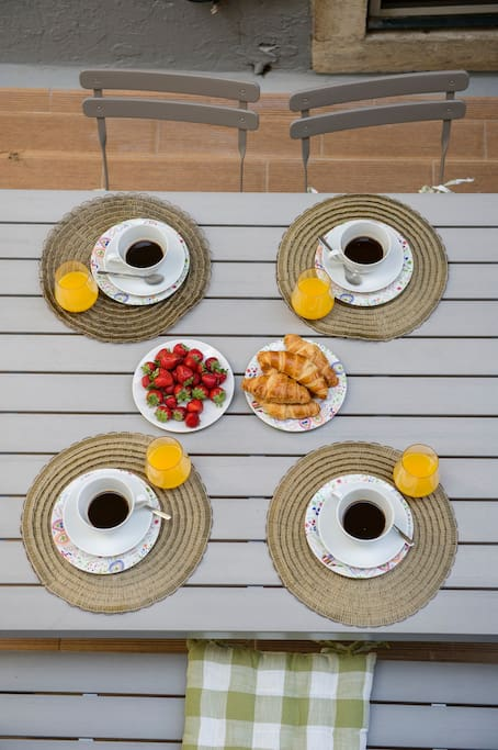 Dining table on our terrace