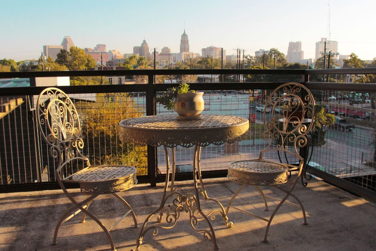 the patio overlooking downtown Alamo City