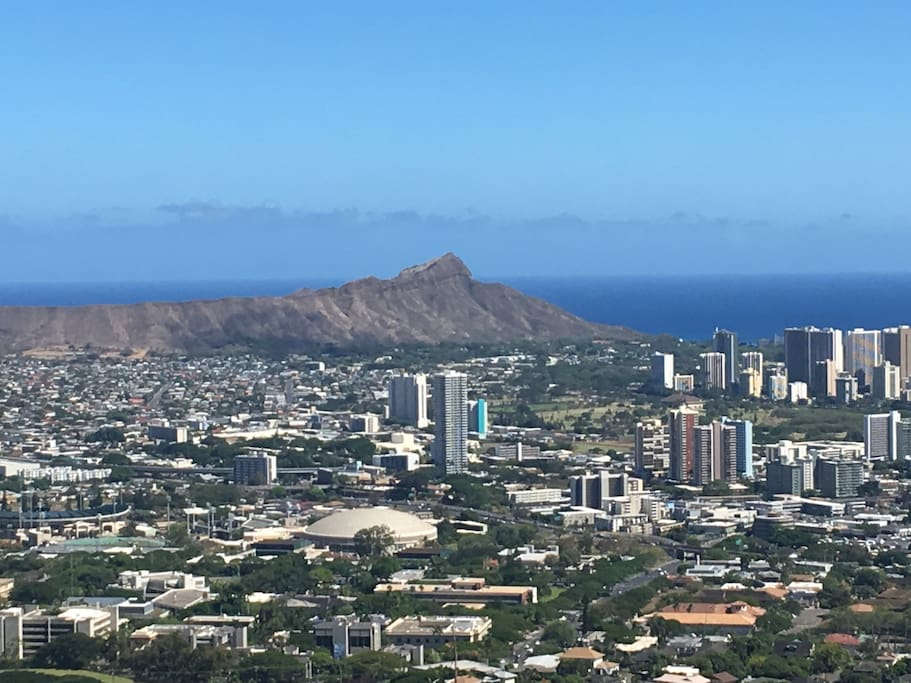Majestic Diamond Head looks over Waikiki, we are lucky to be right at the base of it.