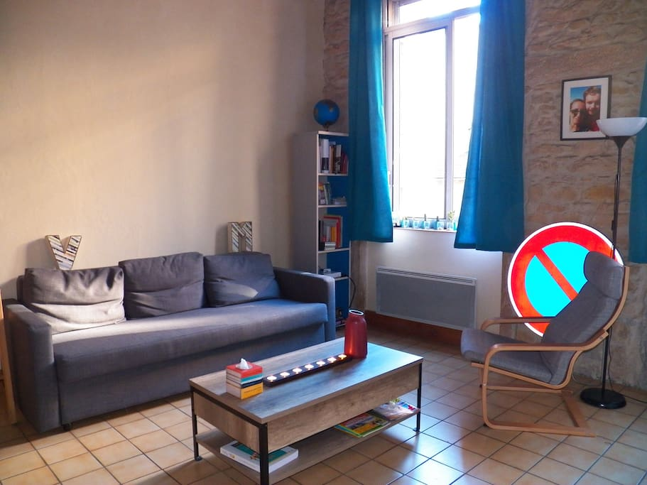 Le salon avec canapé convertible / Lounge with sofa bed