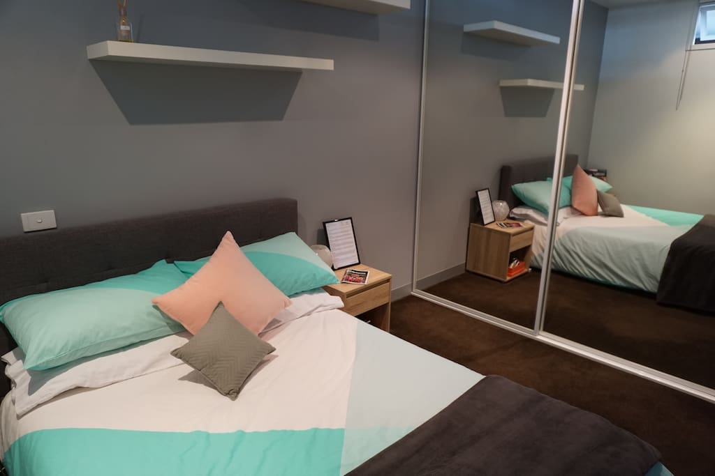 Clean and bright room with a double bed