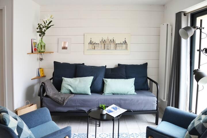 Salon, canapé qui se transforme en lit double avec un vrai couchage.