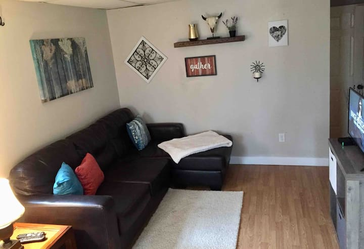 Comfy lower level  with yard. Near WVU  and town.