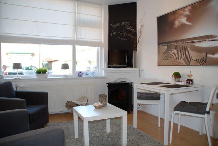 Knusse woonkamer met elektrohaardje