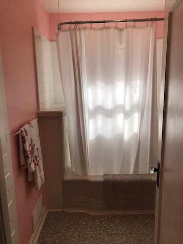 Bathroom is positioned between the two bedrooms in the hallway. Privacy window in the shower.