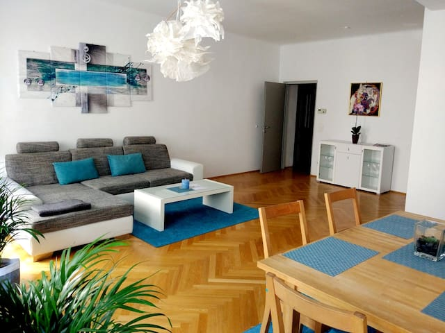 Large Living room (37 m2) with a dining table 155 cm (extendable to 200 cm) for six people, Sofa bed 285 x 200 cm. The door leads to the hallway with washroom and the bedroom at the end of it
