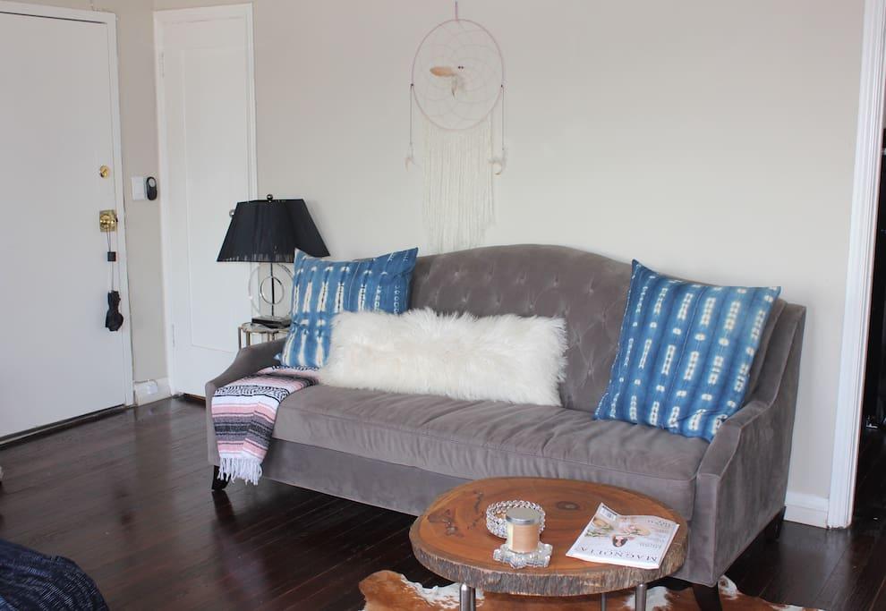 Comfortable plush sofa